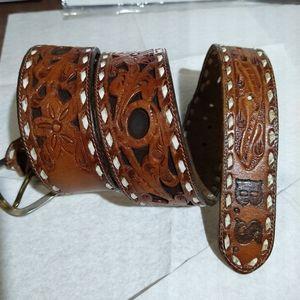 Tony Lama USA made Floral hand tooled leather belt